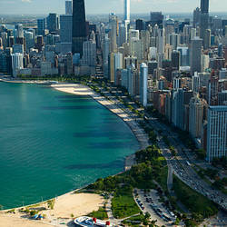 Aerial view of a city, Oak Street Beach, Lake Shore Drive, Lake Michigan, Chicago, Cook County, Illinois, USA