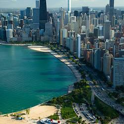 Aerial view of a city, Oak Street Beach, Lake Shore Drive, Lake Michigan, Chicago, Cook County, Illinois, USA