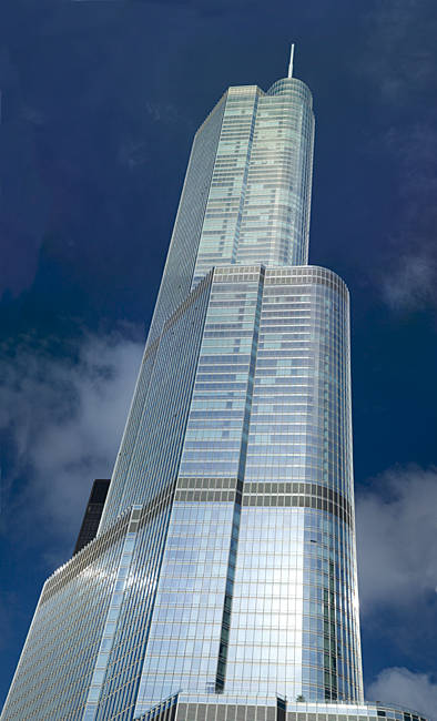 Low angle view of a skyscraper, Trump Tower, Chicago, Cook County, Illinois, USA