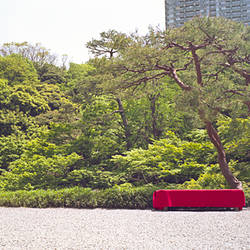 Bench in a garden, Happo-En Gardens, Tokyo Prefecture, Japan