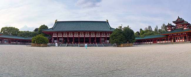Facade of a shrine, Heian Jingu Shrine, Kyoto Prefecture, Japan
