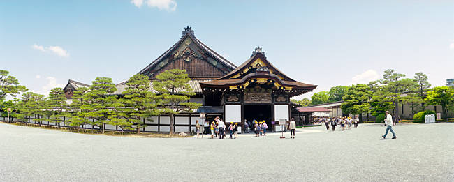 Tourists at a palace, Ninomaru Palace, Nijo Castle, Kyoto Prefecture, Japan