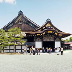 Tourists at a palace, Ninomaru Palace, Nijo Castle, Kyoto Prefecture, Japan