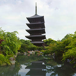 Reflection of a temple in pond, Toji Temple, Kyoto Prefecture, Japan