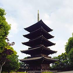 Low angle view of a pagoda, Toji Temple, Kyoto Prefecture, Japan