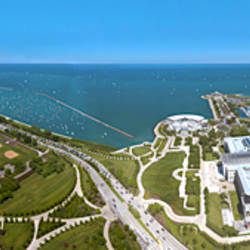 180 degree view of a city, Lake Michigan, Chicago, Cook County, Illinois, USA 2009
