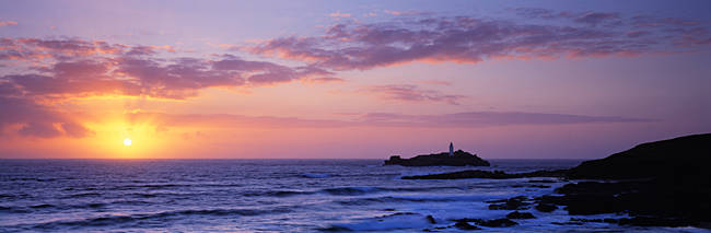 Lighthouse on an island, Godrevy Lighthouse, Godrevy, Cornwall, England