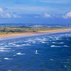 High angle view of a beach, Saunton Sands, Saunton, North Devon, Devon, England
