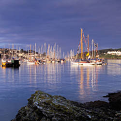 Boats at a harbor, Fowey, Cornwall, England
