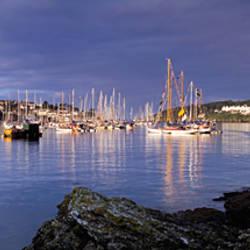 Boats at a harbor, Fowey, Cornwall, England