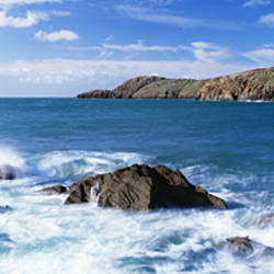 Island in the ocean, Whitsand Bay, Pembrokeshire Coast National Park, St. David's, Pembrokeshire, Wales