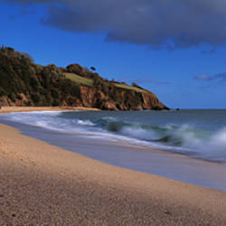 Waves breaking on the coast, Blackpool Sands, South Hams, Devon, England