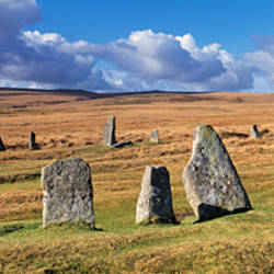 Stone circle on a hill, Scorhill Stone Circle, Dartmoor, Devon, England