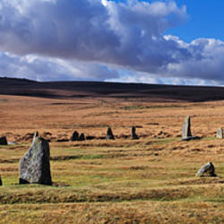 Stone circle on a hill, Scorhill Stone Circle, Dartmoor, Devon, England