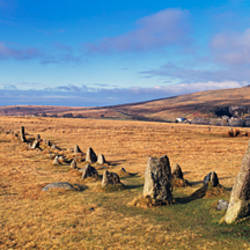 Neolithic Stone Rows on a landscape, Merrivale, Dartmoor, Devon, England