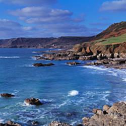 High angle view of a beach, Mattiscombe Beach, Lannacombe Bay, South Devon, Devon, England