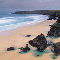 Rock formations on the coast, Carnewas And Bedruthan Steps, St. Eval, Cornwall, England
