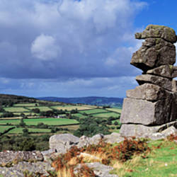 Rock formations on a landscape, Bowerman's Nose, Dartmoor, Devon, England