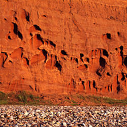 Eroded cliffs on the beach, Budleigh Salterton, Devon, England
