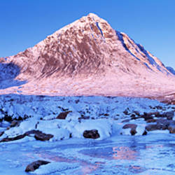 Snowcapped mountain, Buachaille Etive Mor, Highlands Region, Scotland