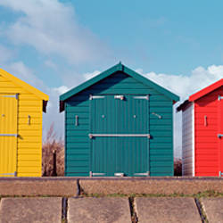 Beach huts on the beach, Dawlish Warren, Dawlish, Teignbridge, Devon, England