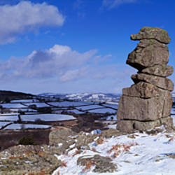 Rock formations on a landscape, Bowerman's Nose, Dartmoor, Devon, England