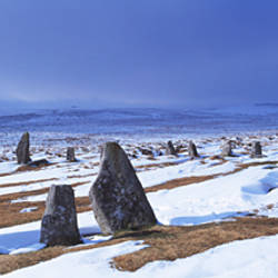 Stone circle on a snow covered hill, Scorhill Stone Circle, Dartmoor, Devon, England