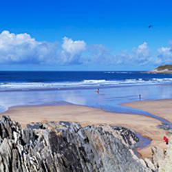 Rock formations on the beach, Barricane Beach, Woolacombe, North Devon, Devon, England