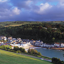 Town on a hill, Combe Martin, North Devon, Devon, England