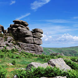 Rock formations on a hill, Hound Tor, Dartmoor, Devon, England