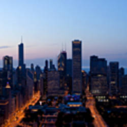 High angle view of a city at dusk, Chicago, Cook County, Illinois, USA 2009
