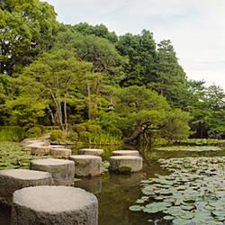 Stepping stones in a lake, Naka Shinen, Heian Jingu Shrine, Kyoto Prefecture, Kinki Region, Honshu, Japan