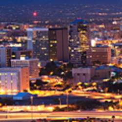 City lit up at night, Tucson, Pima County, Arizona, USA