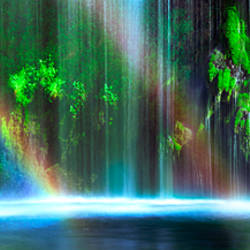 Rainbow formed in front of a waterfall in a forest, Dunsmuir, Siskiyou County, California, USA