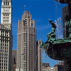 Buildings in a city, Children's Fountain, Wacker Drive, Chicago, Cook County, Illinois, USA