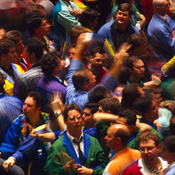Business people on a trading floor, Chicago Board of Trade, Chicago, Cook County, Illinois, USA