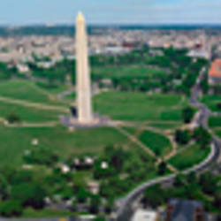 Aerial view of a monument, Tidal Basin, Constitution Avenue, Washington DC, USA