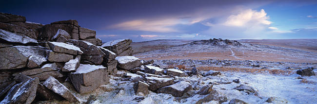 Dartmoor viewed from tor in snow, Staple Tor, Devon, England