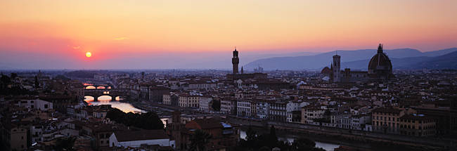 Cityscape at dusk from Piazza Michaelangelo, Florence, Tuscany, Italy