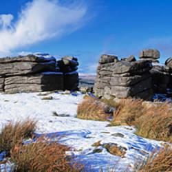 Snow covered tor, Combestone Tor, Dartmoor National Park, Devon, England