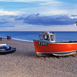 Boats on the beach, Branscombe Beach, Devon, England