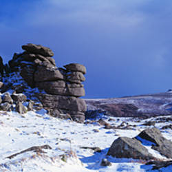 Snow covered rock formations, Hound Tor, Haytor Rocks, Dartmoor National, Park, Devon, England