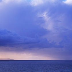 Storm clouds over sea, Lundy Island, North Devon, Devon, England