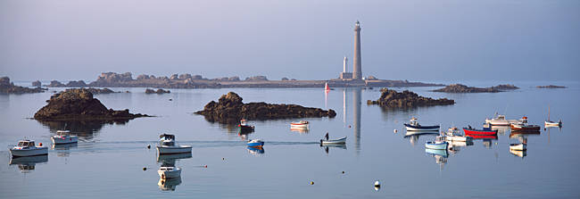 Lighthouse on the coast, Ile Vierge Lighthouse, Finistere, Brittany, France