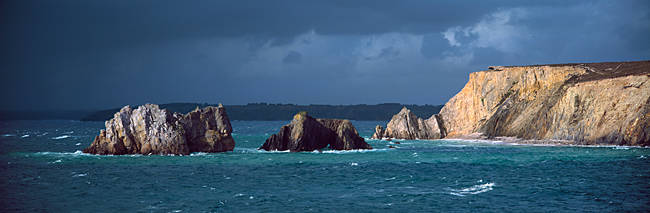 Rock formations in the sea, Pointe Du Grand Goin, Camaret-Sur-Mer, Finistere, Brittany, France