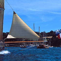 Tall ship regatta featuring Cancalaise and Granvillaise, Baie De Douarnenez, Finistere, Brittany, France