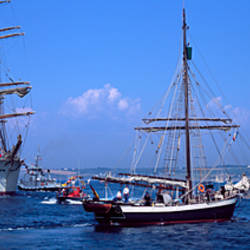Tugboat Abeille Iroise towing Russian four mast barque Cedov, Baie De Douarnenez, Finistere, Brittany, France