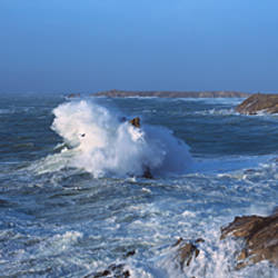 Waves breaking on rocks, Baie De Quiberon, Quiberon, Morbihan, Brittany, France