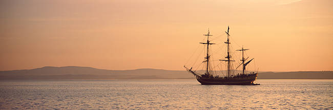 Tall ship in the sea, Baie De Douarnenez, Finistere, Brittany, France