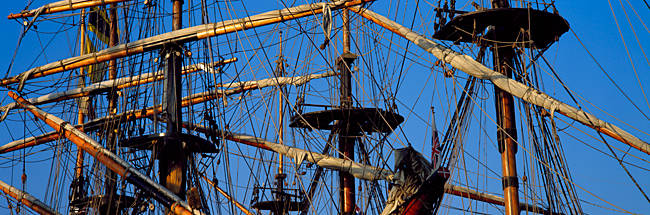 Rigging of a tall ship, Finistere, Brittany, France